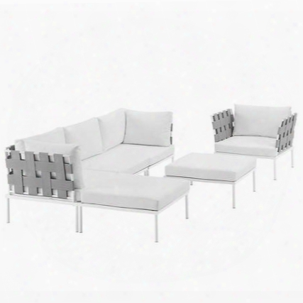 Harmony Collection Eei-2626-whi-whi-set 6-piece Outdoor Patio Aluminum Sectional Sofa With Armchair Armless Chair 2 Corner Sofas And 2 Otto Mans In