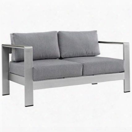 Shore Collection Eei-2267-slv-gry Outdoor Patio Loveseat With Anodized Aluminum Frame Black Plastic Foot Caps Dense Foam Padding And All-weather Canvas
