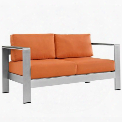 Shore Collection Eei-2267-slv-ora Outdoor Patio Loveseat With Anodized Aluminum Frame Black Plastic Foot Caps Dense Foam Padding And All-weather Canvas