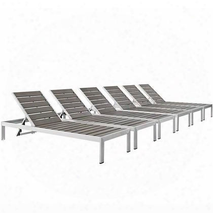 Shore Collection Eei-2469-slv-gry-set Set Of 6 Outdoor Patio Aluminum Chaise With Plastic Wood Accent Paneling Anodized Aluminum Frame And Dual Wheels At Top