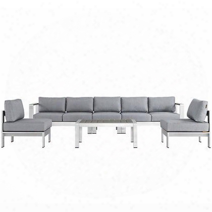 Shore Collection Eei-2565-slv-gry 6 Pc Outdoor Patio Sectional Sofa Set With All-weather Canvas Cushions Anodized Aluminum Frame Non-marking Foot Caps And