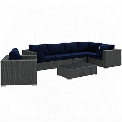 Sojourn Collection Eei-1878-chc-nav-set 7 Pc Outdoor Patio Sectional Set With Sunbrella Fabric Powder Coated Aluminum Frame And Synthetic Rattan Weave