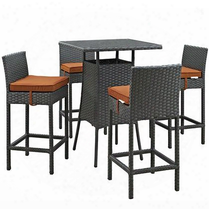 Sojourn Collection Eei-1967--chc-tus-set 5-piece Outdoor Patio Sunbrella Pub Set With 4 Barstools And Small Bar Table In Canvas