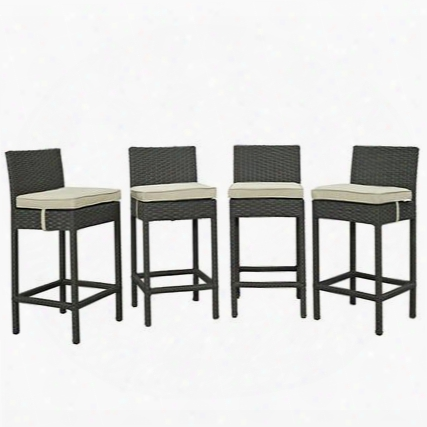 Sojourn Collection Eei-2196-chc-bei-set 4 Pc Outdoor Patio Bar Stool Set With Powder Coated Aluminum Frame Sunbrella Fabric And Synthetic Rattan Weave
