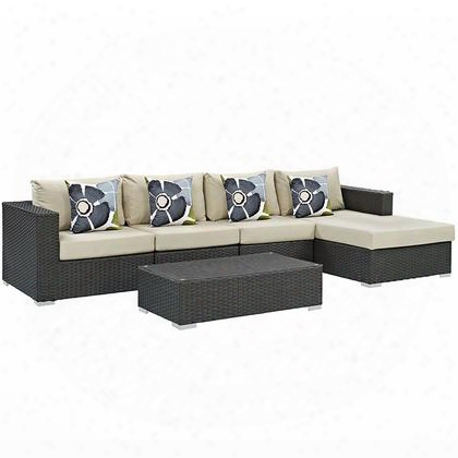 Sojourn Collection Eei-2382-chc-bei-set 5 Pc Outdoor Patio Sectional Set With Powder Coated Aluminum Frame Sunbrella Fabric Synthetic Rattan Weave Material