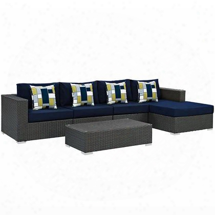 Sojourn Collection Eei-2382-chc-nav-set 5 Pc Outdoor Patio Sectional Set With Powder Coated Aluminum Frame Sunbrella Fabric Synthetic Rattan Weave Material