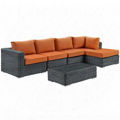 Summon Collection Eei-1900-gry-tus-set 5-piece Outdoor Patio Sunbrella Sectional Set With Coffee Table Corner Ssection Right Arm Chaise And 2 Armless Chairs