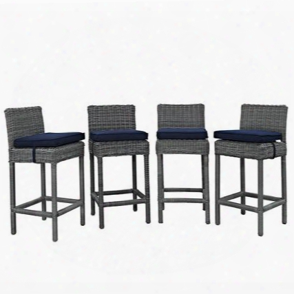 "Summon Collection Eei-2198-gry-nav-set Set Of 4 40"" Outdoor Patio Bar Stool With Sunbrella Fabric Synthetic Rattan Weave Powder  Coated Aluminum  Frame Water"
