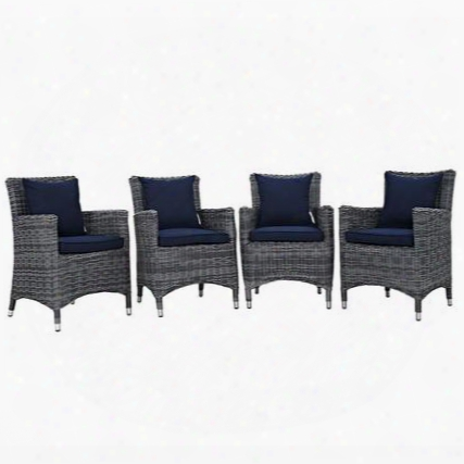 Summon Collection Eei-2314-gry-nav-set  Pc Outdoor Patio Dining Set With Sunbrella Fabric Synthetic Rattan Weave Powder Coated Aluminum Frame Water & Uv