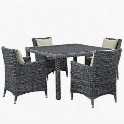 Summon Colelction Eei-2316-gry-bei-set 5 Pc Outdoor Patio Dining Set With Sunbrella Fabric Synthetic Rattan Weave Powder Coated Aluminum Frame Water & Uv