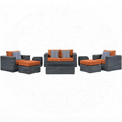 Summon Collection Eei-2389-gry-tus-set 8-piece Outdoor Patio Sunbrella Sectional Set With Coffee Table Loveseat 2 Armchairs 2 Ottomans And 2 Side Tables In