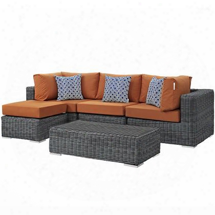 Summon Collection Eei-2398-gry-tus-set 5-piece Outdoor Patio Sunbrella Sectional Set With Armless Chair Coffee Table Ottoman And 2 Corner Sections In Canvas