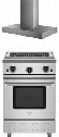 "2-Piece Kitchen Package with RNB24CBV2NG 24"" Gas Freestanding Range and BSMANH24SS 24"" Wall Mount Range Hood in Stainless"