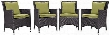 Convene Collection EEI-2190-EXP-PER-SET 4 PC Outdoor Patio Dining Set with Synthetic Rattan Weave Powder Coated Aluminum Frame Fabric Seat Cushions Water