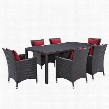 Convene Collection EEI-2199-EXP-RED-SET 7 PC Outdoor Patio Dining Set with Synthetic Rattan Weave Material Powder Coated Aluminum Frame and All-Weather Fabric