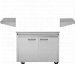 "DHGB38-C 38"" Grill Base with 4 Heavy Duty Casters 2 Stationary Side Shelves Front Access Doors in Stainless"