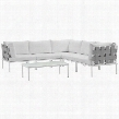 Harmony Collection EEI-2627-WHI-WHI-SET 6-Piece Outdoor Patio Aluminum Sectional Sofa Set with Coffee Table 3 Corner Sofas and 2 Armless Chairs in