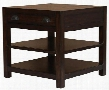 "Home Accents Collection 720397 26"" End Table with 1 Drawers 2 Shelves Metal Hardware Solid Mahogany and Acacia Veneer in Vintage Cocoa"