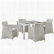 Junction Collection EEI-1744-GRY-WHI-SET 5 PC Outdoor Patio Dining Set with Powder Coated Aluminum Frame Plastic Base Glides and Synthetic Rattan Weave
