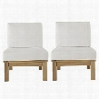 Marina Collection EEI-1821-NAT-WHI-SET 2 PC Outdoor Patio Sofa Set with Solid Teak Wood Construction Machine Washable Covers Water and UV Resistant Cushions
