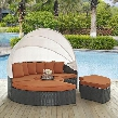 "Sojourn Collection EEI-1986-CHC-TUS-SET 86"" Outdoor Patio Sunbrella Daybed with 6 Throw Pillows 2 Ottomans Retractable Canopy Coffee Table Synthetic Rattan"