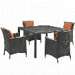 Sojourn Collection EEI-2244-CHC-TUS-SET 5-Piece Outdoor Patio Sunbrella Dining Set with 4 Armchairs and Dining Table in Canvas