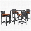 Summon Collection EEI-1972-GRY-TUS-SET 5 PC Outdoor Patio Pub Set with Sunbrella Fabric Powder Coated Aluminum Frame UV Resistant and Synthetic Rattan Weave