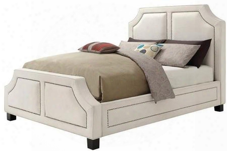 Washbourne Collection 300547ke Eastern King Size Panel Bed With Brass Nailhead Trim Tapered Legs And Fabric Upholstery In White