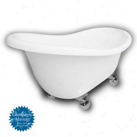 American Bath Factory B1-1670-ww-dm3-m2-35-ch-c1-lh Monroe Slipper Clawfoot Bathtub In White, Cannon