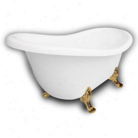 American Bath Factory B1-1670-ww-dm7-m2-25-pb Monroe Slipper Clawfoot Bathtub In White, Paw Feet In