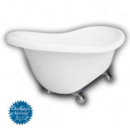 American Bath Factory B1-1670-ww-dm7-m2-35-sn-c1-rh Monroe Slipper Clqwfoot Bathtub In White, Cannon