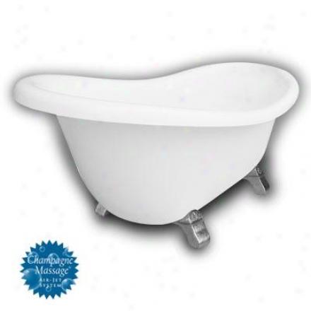Americah Bath Factory B1-1670-ww-dm7-m2-45-sn-c1-rh Monroe Slipper Clawfoot Bathtub In White, Armada