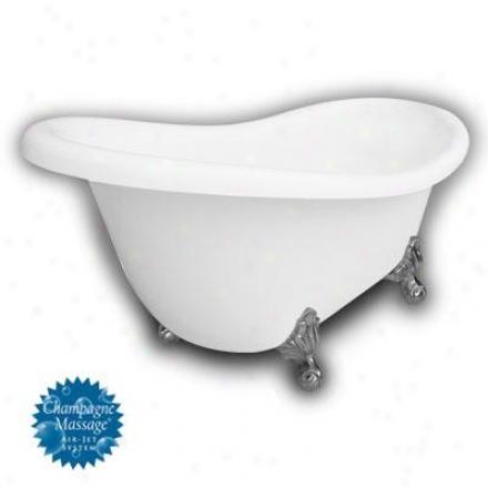 American Bath Factory B1-1670-ww-nh-m2-15-sn-c1-lh Monroe Slipper Clawfoot Bathtub In Happy, Ball An