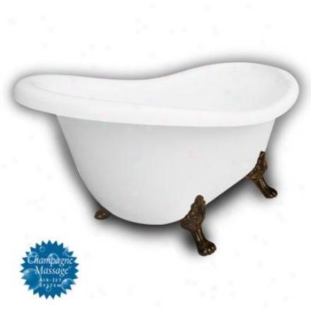 American Bath Factory B1-1670-ww-nh-m2-25-ob-c1-lh Monroe Slipper Clawfopt Bathtub In White, Paw Fee
