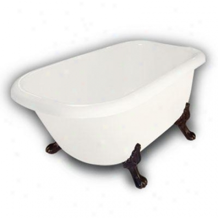 American Bath Factory B1-2540-bb-dm3-m2-25-oc Jester Traditional Clawfoot Bathtub In Bisque, Paw Fee