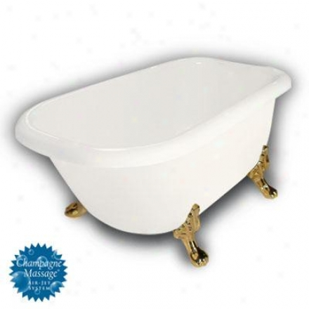 American Bath Factory B1-2540-bb-dm3-m2-25-pb-c1-1h Jester Traditional Clawfoot Bathtub In Bisque, P