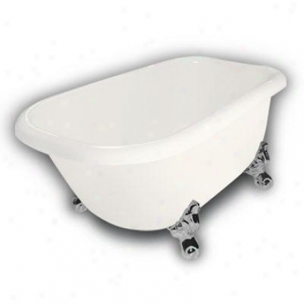 American Bath Factory B1-2540-bb-dm7-m2-15-ch Jester Traditional Clawfoot Bathtub In Bisque, Ball An