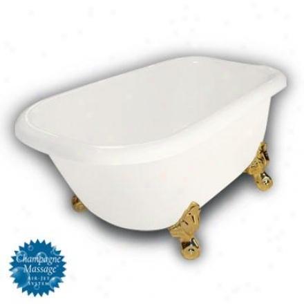 American Bath Factory B1-2540-bb-dm7-m2-15-pb-c1-rh Jester Traditional Clawfoot Bathtub In Bisque, B