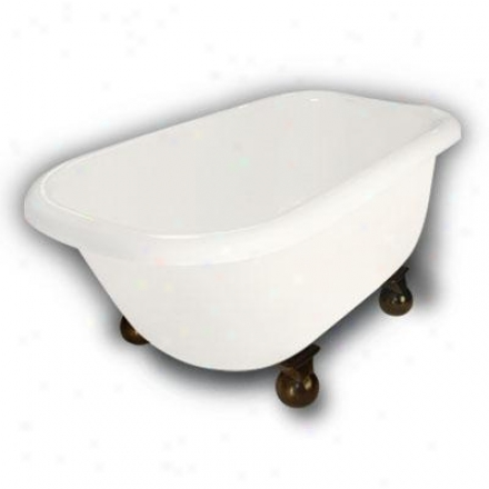 American Bath Factory B1-2540-bb-dm7-m2-35-ob Jester Trqditional Clawfoot Bathhtub In Bisque, Cannonb