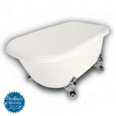 American Bath Factory B1-2540-bb-tm3-m2-15-ch-c1-lh Jester Traditional Clawfoot Bathtub In Bisque, B