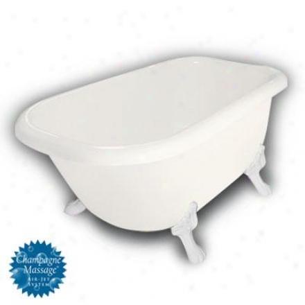 American Bath Factory B1-2540-bb-tm3-m2-25-wh-c1-rh Buffoon Traditional Clawfoot Bathtub In Bisque, P