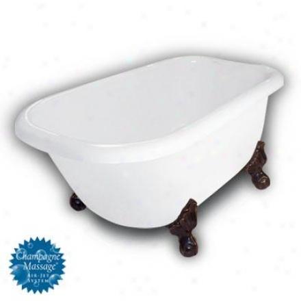 American Bath Factory B1-2540-ww-dm3-m2-15-oc-c1-rh Jester Traditional Clawfoot Bathtuh In White, Ba