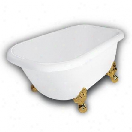 American Bath Factory B1-2540-ww-dm2-m2-15-pb Jester Traditional Clawfoot Bathtub In White, Ball And