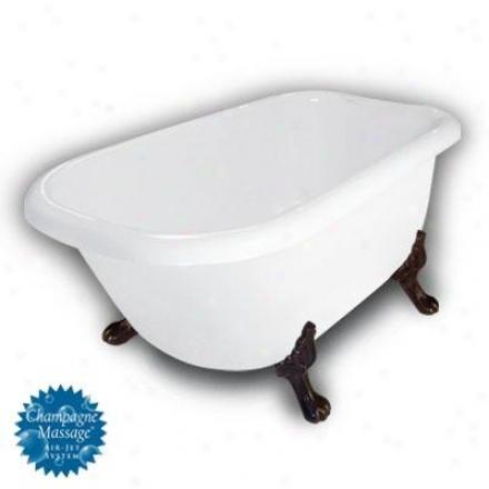 American Bath Factory B1-2540-ww-dm3-m2-25-oc-c1-rh Jester Traditional Clawfoot Bathtub In White, Pa