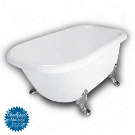 American Bath Factory B1-2540-ww-dm3-m2-25-sn-c1-lh Jeater Traditional Clawfoot Bathtun In Pure, Pa