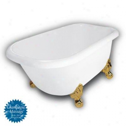 American Bath Factory B1-2540-ww-dm7-m2-15-pb-c1-rh Jester Traditiona Clawfoot Bathtub In White, Ba