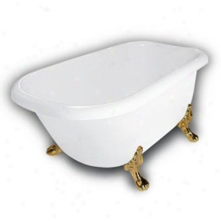 American Bath Factory B1-2540-ww-dm7-m2-25-pb Jester Traditional Clawfoot Bathtub In White, Paw Feet