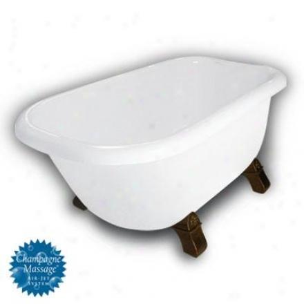 American Bath Factory B1-2540-ww-dm7-m2-45-ob-c1-h Jester Traditional Clawfoot Bathtub In White, Ar