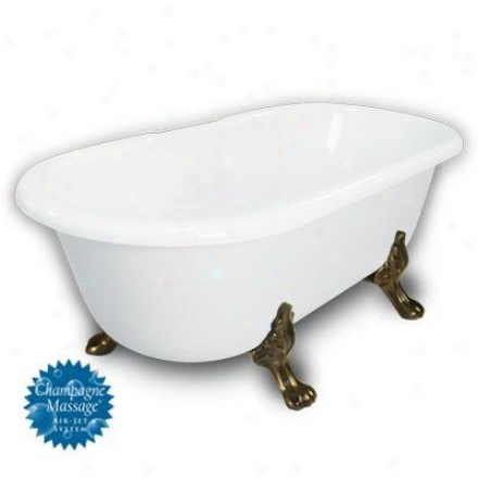 American Btah Factory B1-3700-ww-dm3-m-225-ob-c1-cd Madeline Double Ended Clawfoot Bathtub In White,