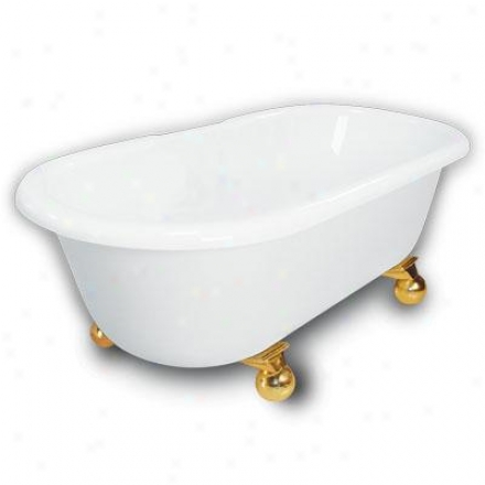 American Bath Factory B1-3700-ww-dm3-m2-35-pb Madeline Double Ended Clawfoot Bathtub In White, Canno